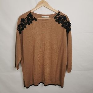 Cleo |Ladies Floral Embroidered Dress Sweater